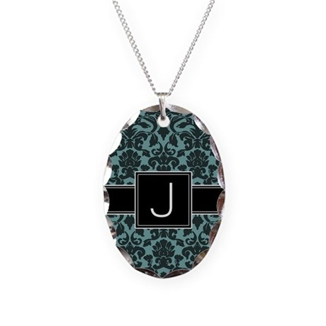 Monogram Letter J Gifts Necklace Oval Charm