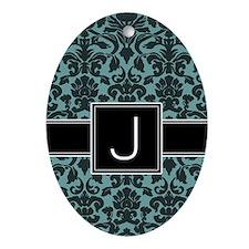 Monogram Letter J Gifts Ornament (Oval)