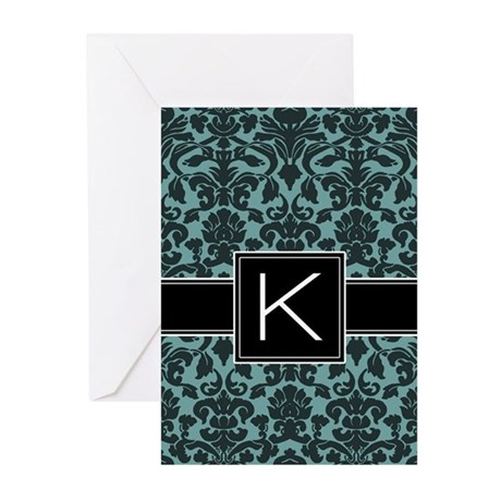 Monogram Letter K Gifts Greeting Cards (Pk of 10)