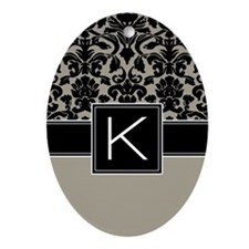 Monogram Letter K Gifts Ornament (Oval)