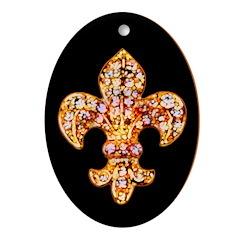 Jeweled Fleur de lis Oval Ornament