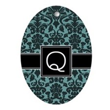 Monogram Letter Q Gifts Ornament (Oval)