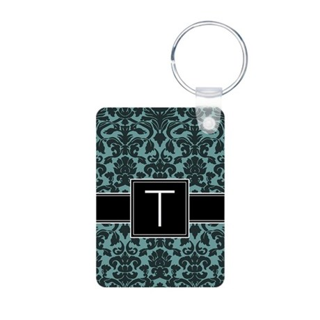 Monogram Letter T Gifts Aluminum Photo Keychain