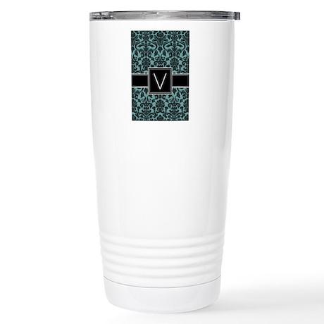 Monogram Letter V Gifts Stainless Steel Travel Mug