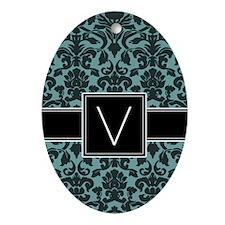 Monogram Letter V Gifts Ornament (Oval)