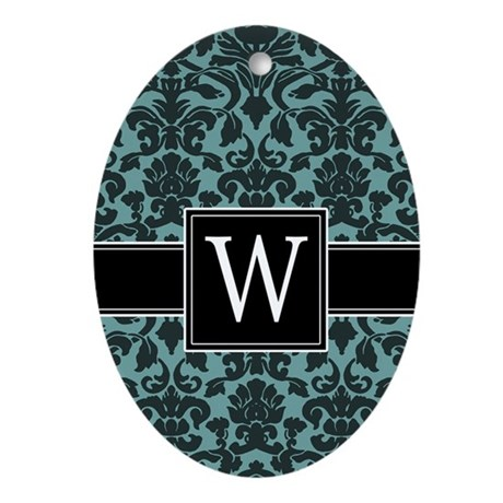 Monogram Letter W Gifts Ornament (Oval)