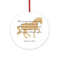 da Vinci flight saying - horse Ornament (Round)