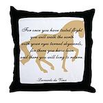 da Vinci flight saying - horse Throw Pillow