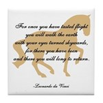 da Vinci flight saying - horse Tile Coaster