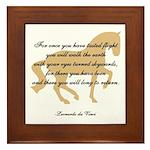 da Vinci flight saying - horse Framed Tile