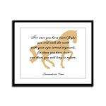 da Vinci flight saying - horse Framed Panel Print