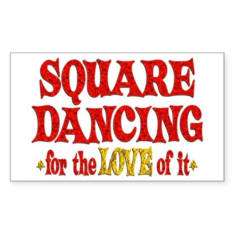 Square Dancing Love Sticker (Rectangle)