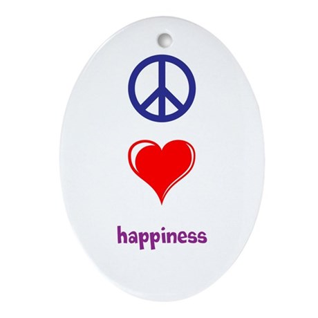 Peace, Love, Happiness Ornament (Oval)