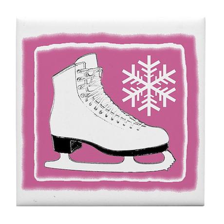 Bright Pink Ice Skate Tile Coaster