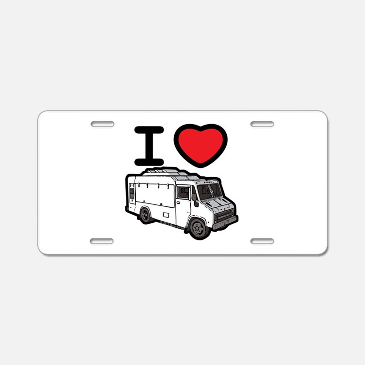 I Love Food Trucks! Aluminum License Plate