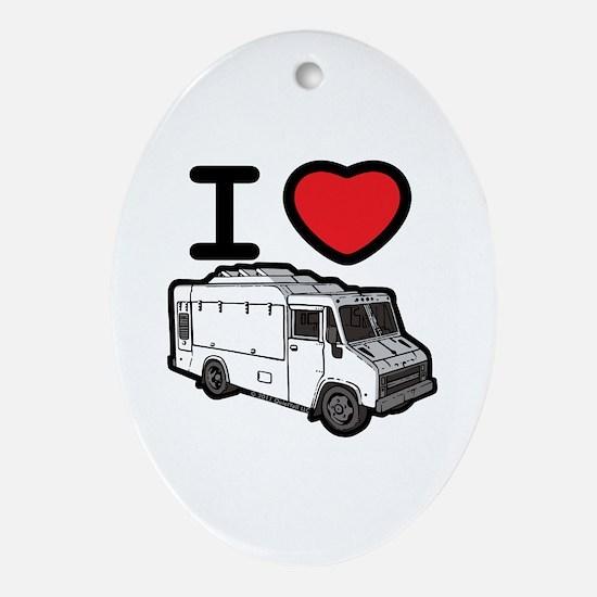 I Love Food Trucks! Ornament (Oval)