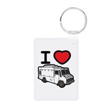 I Love Food Trucks! Aluminum Photo Keychain