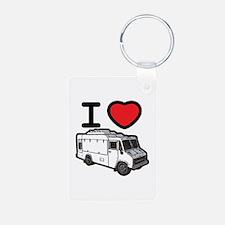I Love Food Trucks! Aluminum Photo Keychain