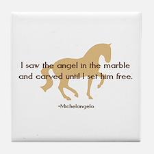 Michelangelo angel sayings - horse Tile Coaster