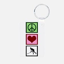 Peace Love Hockey Keychains