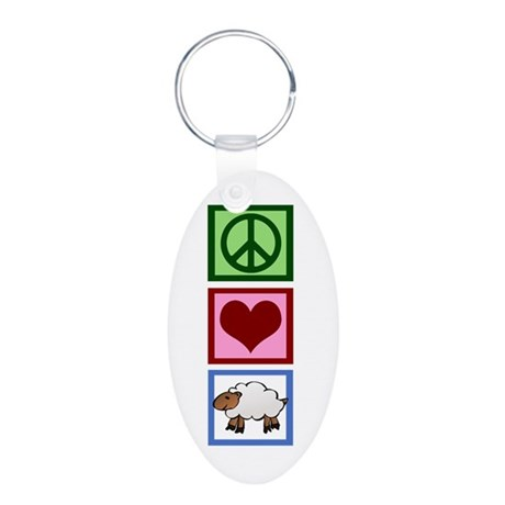 Peace Love Sheep Aluminum Oval Keychain