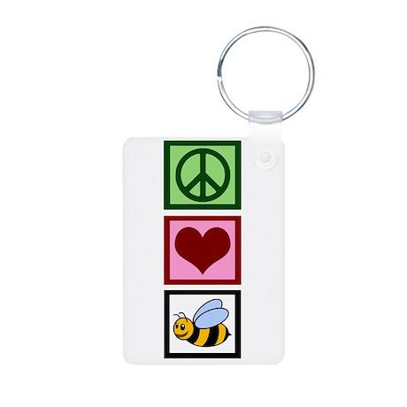 Peace Love Bees Aluminum Photo Keychain