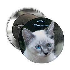 "Blue Eyed Kitten - 2.25"" Button"