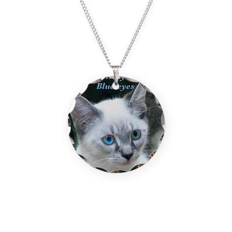 Blue Eyed Kitten - Necklace Circle Charm