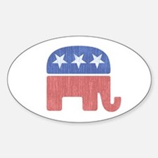 Old Republican Elephant Sticker (Oval)