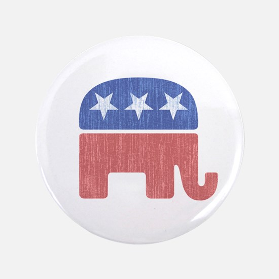"""Old Republican Elephant 3.5"""" Button"""
