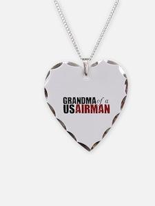 Grandma of a US Airman - Necklace Heart Charm