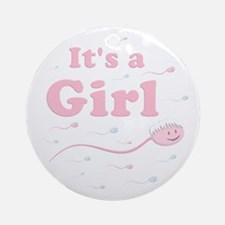 Its a Girl swimmer Ornament (Round)