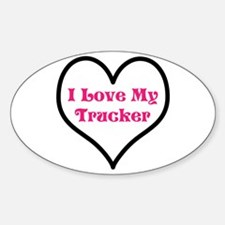 I love my trucker heart Sticker (Oval)