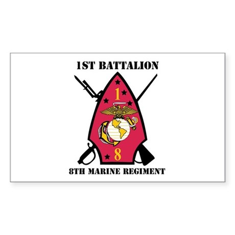1st Battalion - 8th Marines with Text Sticker (Rec