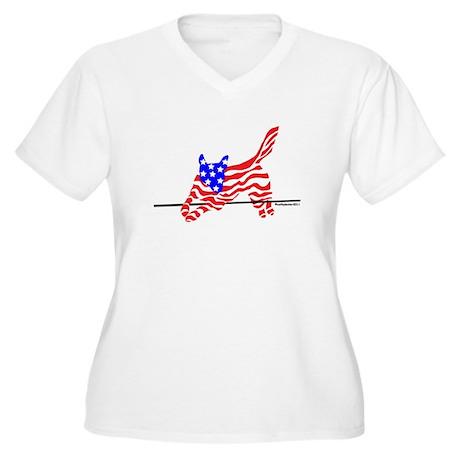 Agility Flag Dog Women's Plus Size V-Neck T-Shirt