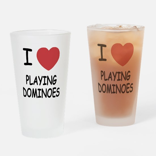 I heart playing dominoes Drinking Glass