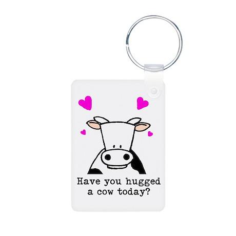 Hug a cow Aluminum Photo Keychain