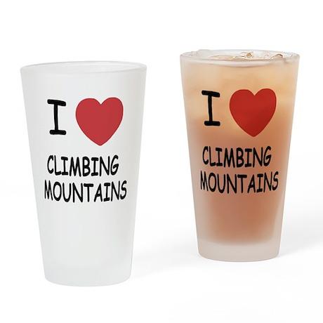 I heart climbing mountains Drinking Glass