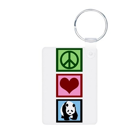Peace Love Pandas Aluminum Photo Keychain