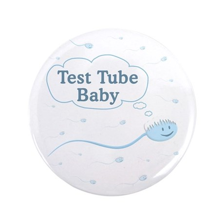 """Test Tube Baby Sperm 3.5"""" Button"""