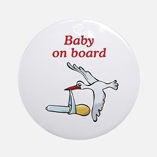 Baby on Board Stork Ornament (Round)