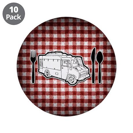 "Food Truck Plate & Utensils 3.5"" Button (10 pack)"