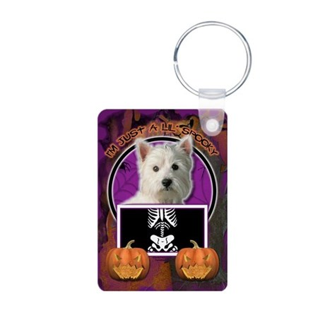 Just a Lil Spooky Westie Aluminum Photo Keychain