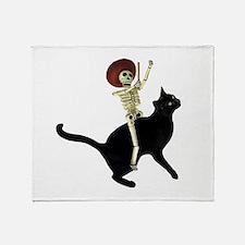 Skeleton on Cat Throw Blanket