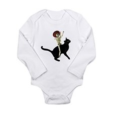 Skeleton on Cat Long Sleeve Infant Bodysuit