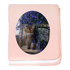 Flower Cat Oval baby blanket