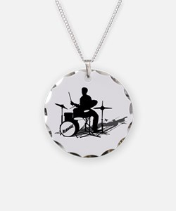 Drummer Drumming Necklace Circle Charm