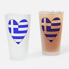 Greek Flag Heart Drinking Glass