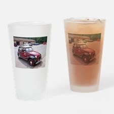 2CV Red Drinking Glass