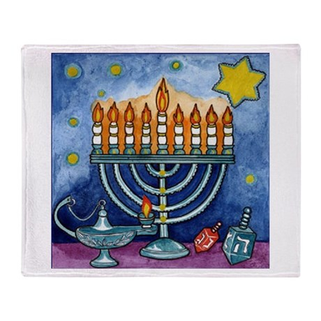 Menorah Cartoon Throw Blanket